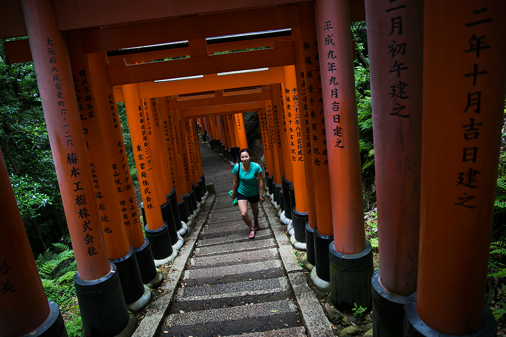 Visiting Fushimi Inari Shrine in historic Kyoto, Japan. The red gates in Kyoto.