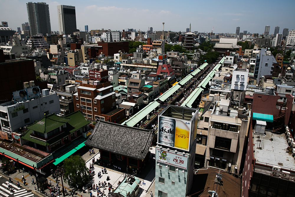 The Nakamise, a shopping street that leads to the Sensoji temple in Asakusa, Japan.