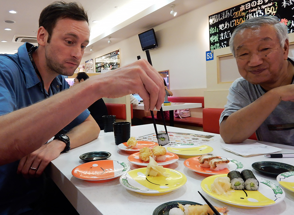 Mark enjoys some sushi with Yamagata-San.