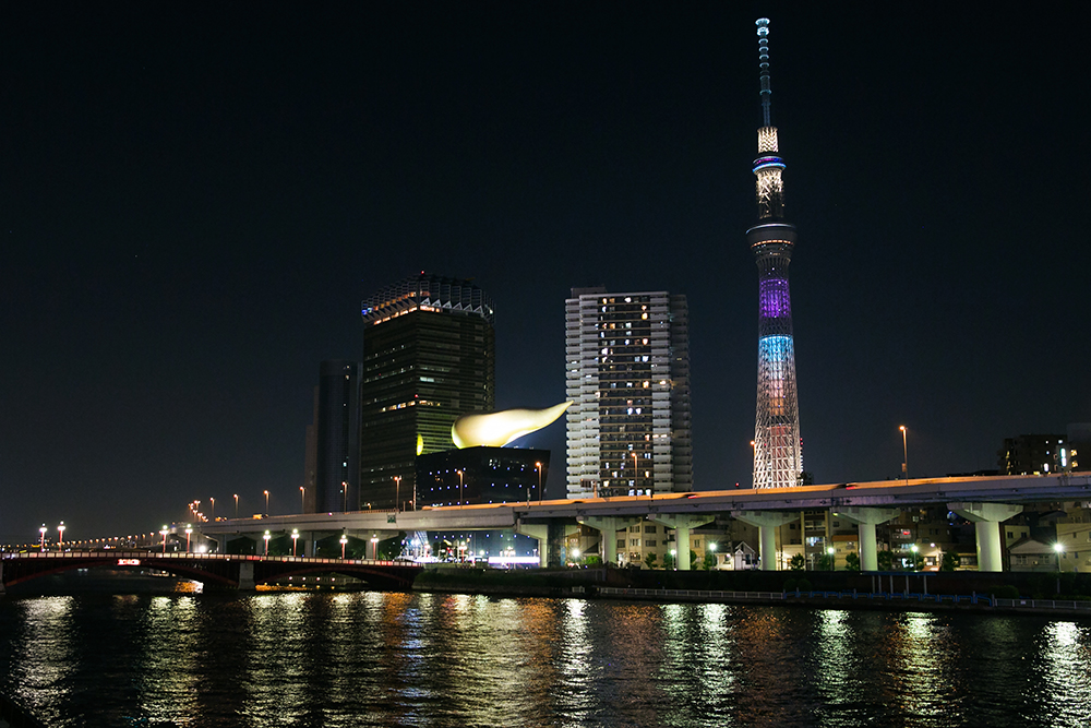 SkyTree at night across the river from our hostel in Asakusa, Tokyo.