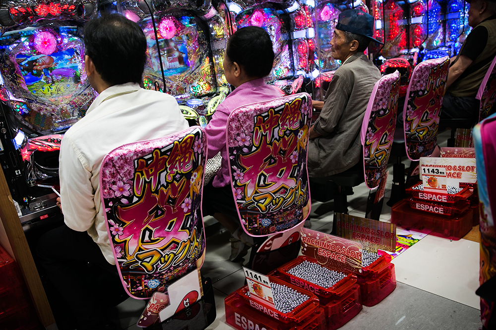Pachinko! Crazy to see all these pachinko halls in Tokyo, Japan.