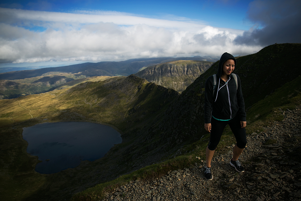 Hiking Helvellyn in the Lake District, England.