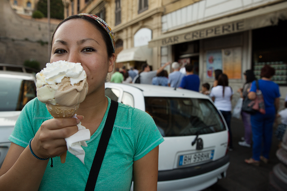 Britnee and her gelato in Rome, Italy