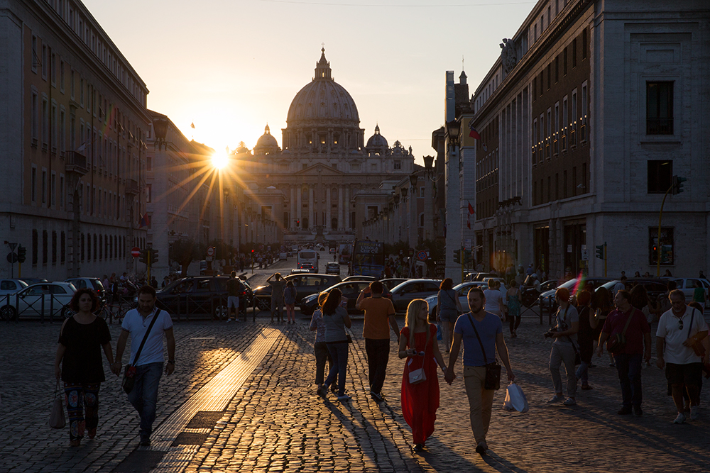Looking to the Vatican City at sunset in Rome, Italy