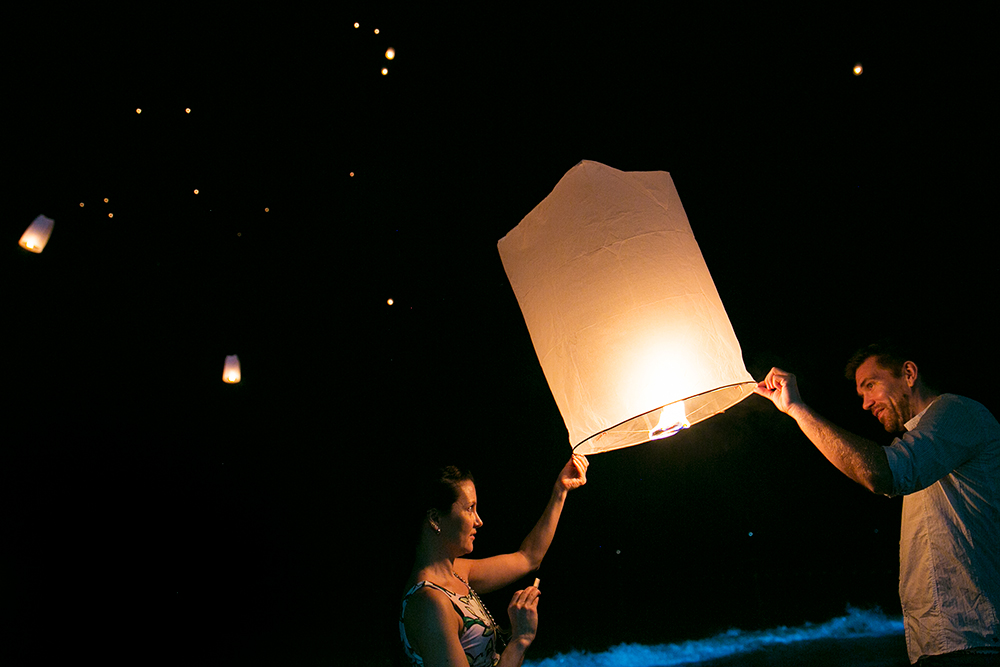 Sky Lanterns on New Year's Eve in Ao Nang