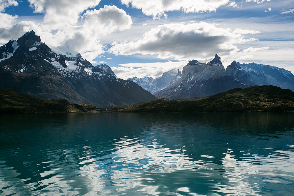 The lovely view of Torres del Paine from the ferry.