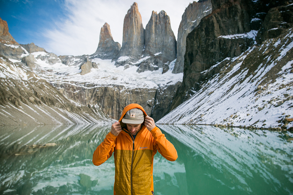Getting warm with the Cotopaxi Pacaya insulated jacket while visiting Mirador las Torres, Chile.