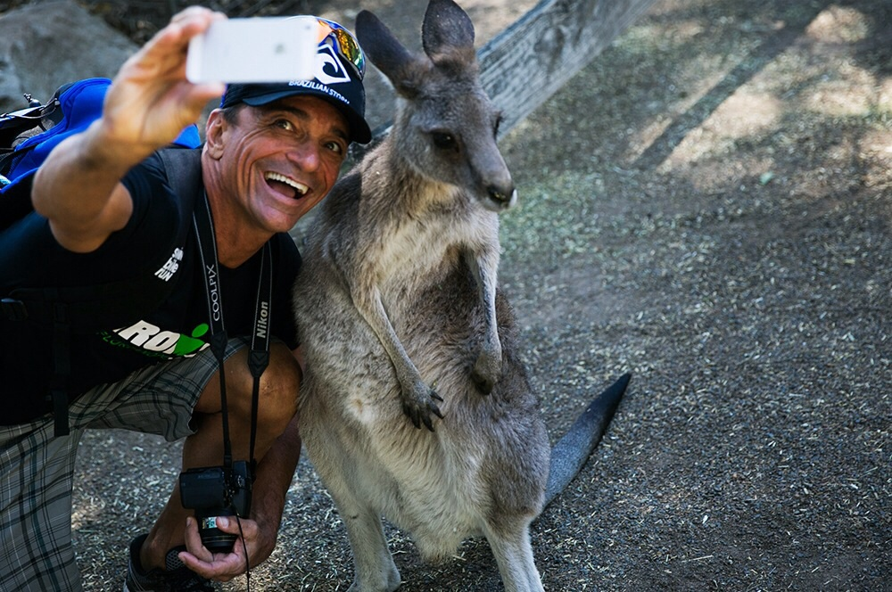 Selfie with a kangaroo at Featherdale Wildlife Park in Sydney