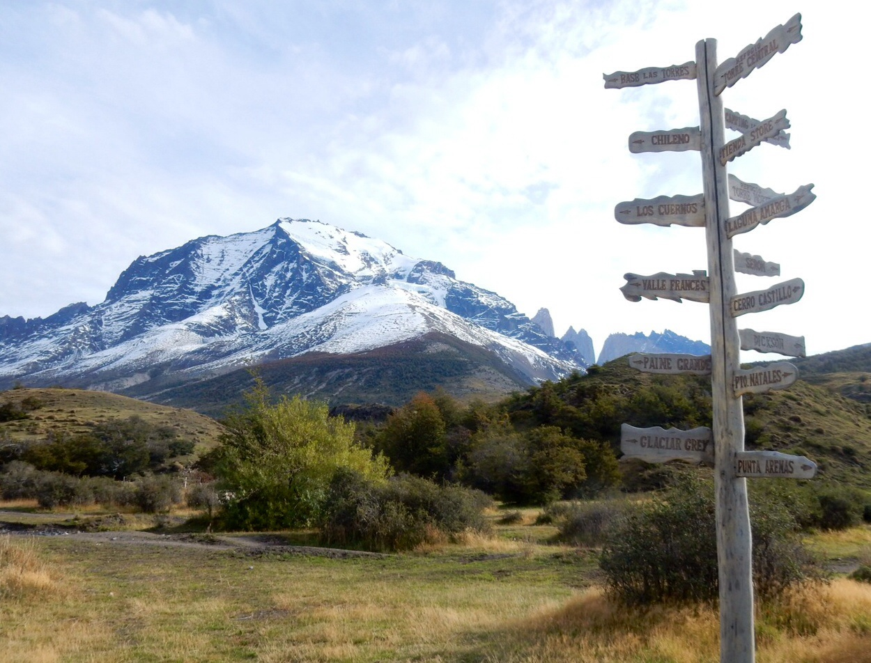 Sign post in Torres del Paine