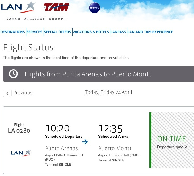 LAN flight from Punta Arenas to Puerto Montt