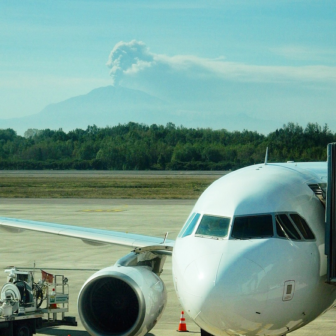 Volcano Calbuco as seen from Puerto Montt airport
