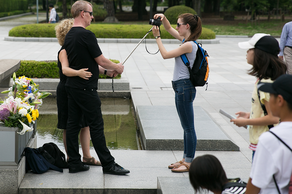 Selfie stick in Hiroshima, Japan