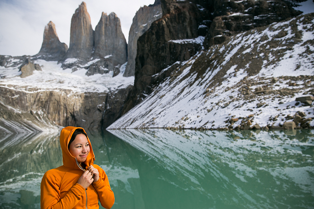 Britnee staying warm in her Cotopaxi fleece in Torres del Paine, Chile.