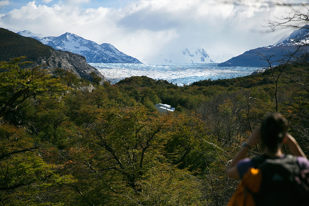 Refugio Grey, our favorite stop in the park, is seen amongst the trees as we hiked to Glacier Grey in Torres del Paine, Chile.