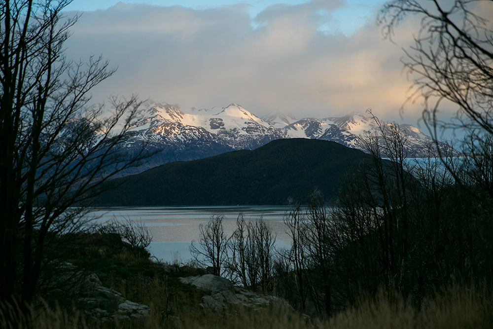 Sunrise as we make our way back to the ferry in Torres del Paine, Chile.