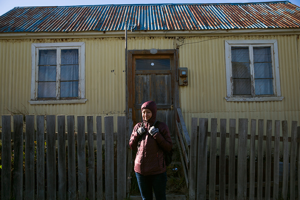 Britnee bundles up to stay warm as we were blasted by the cold Patagonian wind while visiting Tierra del Fuego, Chile.