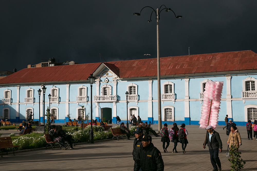 Lovely evening light as storm clouds gather overhead in Puno, Peru.