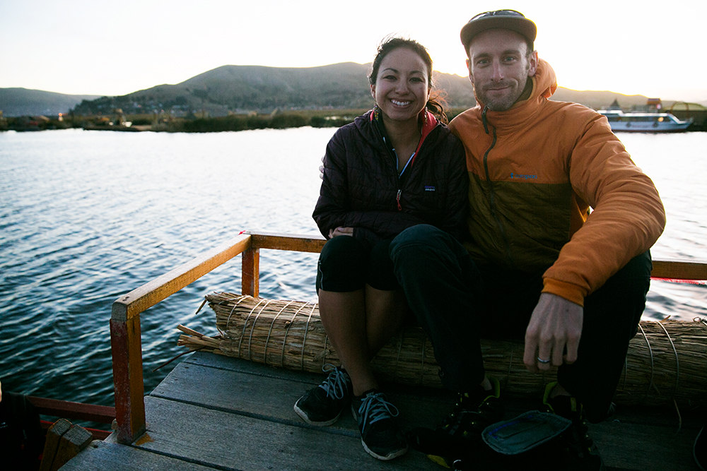 A quick picture by some fellow tourists as we floated along on Lake Titicaca in Peru.