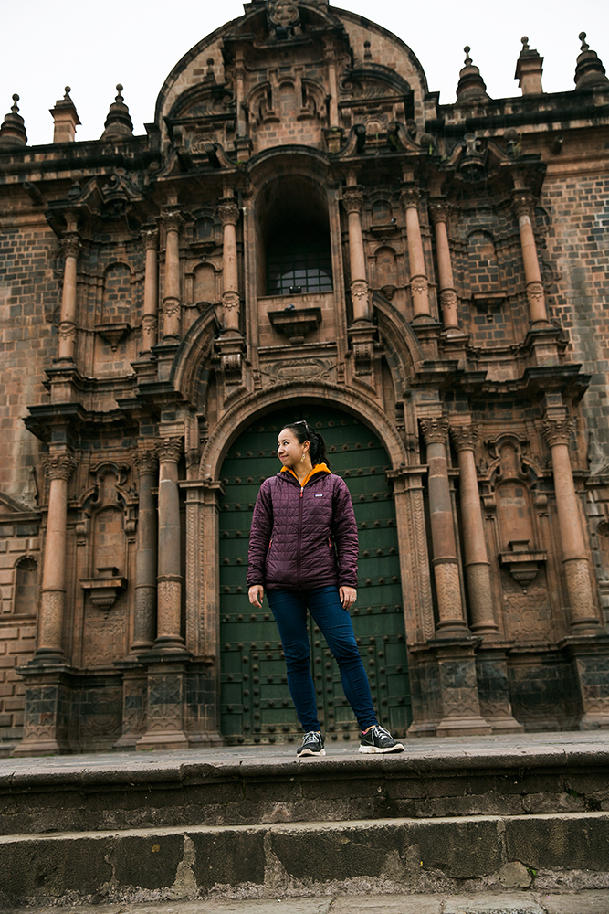 Britnee outside La Catedral del Cuzco in Peru.