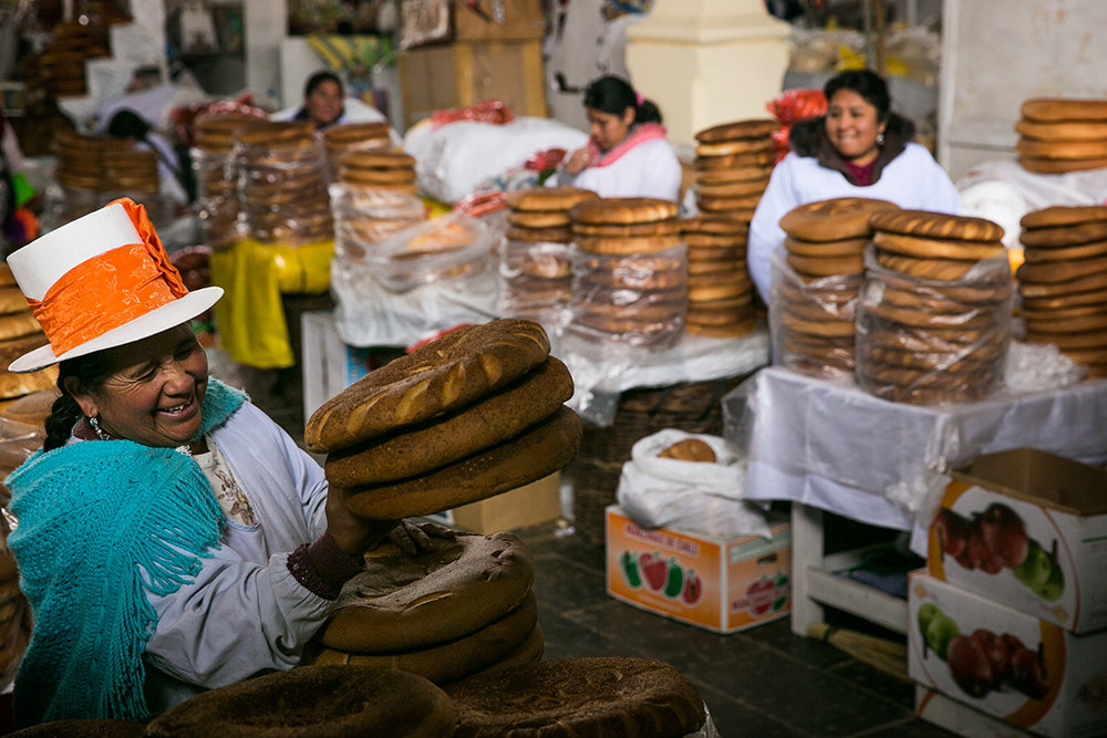 Bread for sale in Mercado Central de San Pedro in Cusco, Peru.
