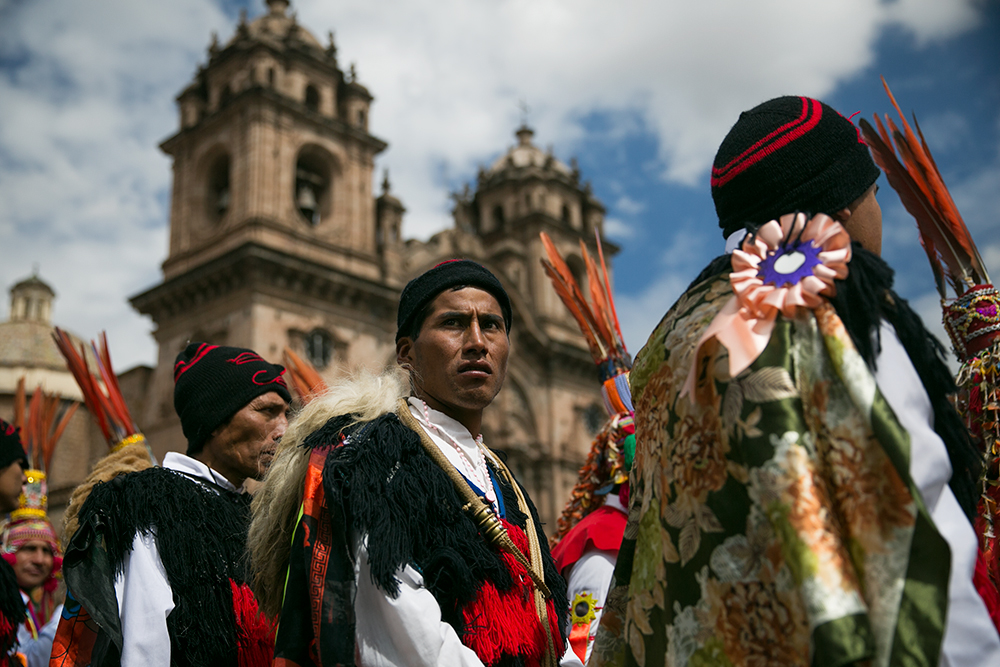 Dancers fill the Plaza de Armas during the celebration of Cruz Velacuy in Cusco, Peru.