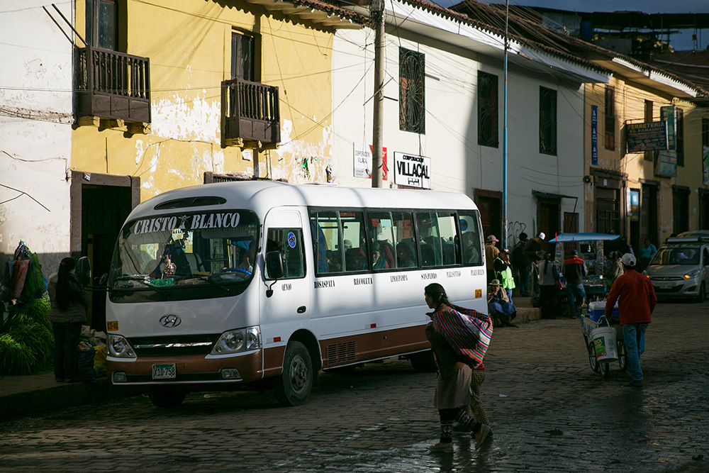 Bus stop in Cusco, Peru.