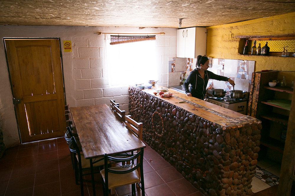 Cooking in our hostel in San Pedro de Atacama, Chile.