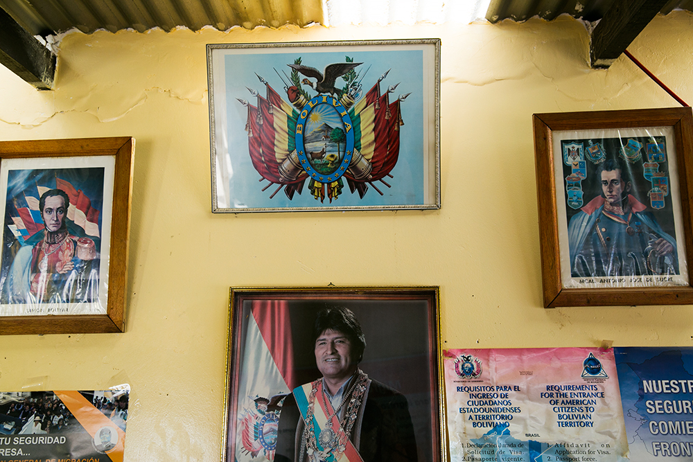 Decorations inside the Bolivian border crossing, a small, stone structure in the middle of nowhere.