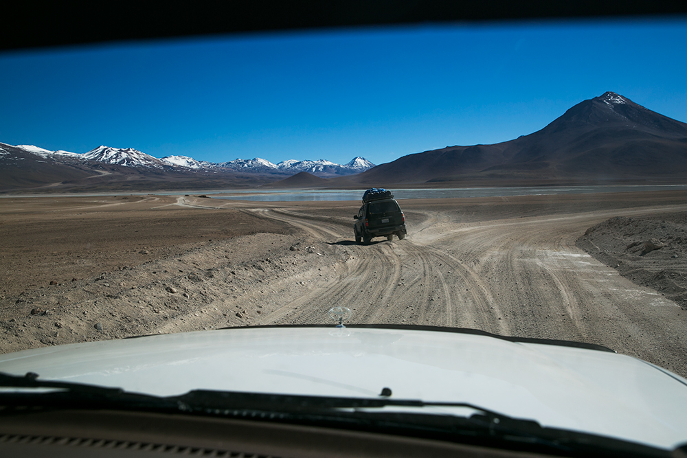 The sandy road stretches out before us as we start our three-day crossing from Chile to Uyuni, Bolivia.
