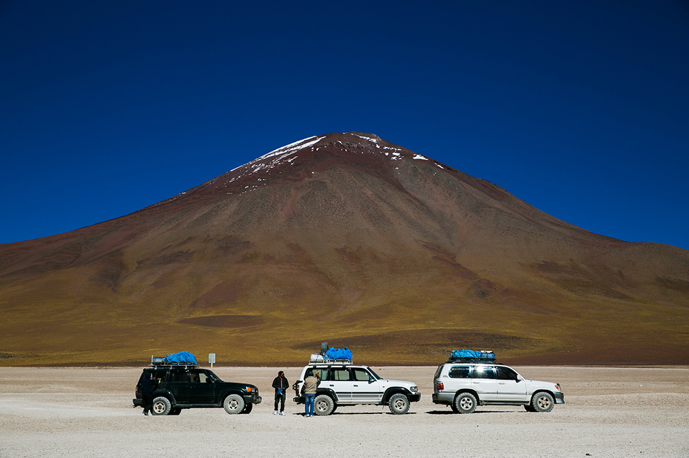 Our group of three Toyota Land Cruisers on the way to Uyuni, Bolivia.