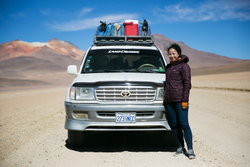 Britnee and our 4x4 on the three-day crossing to Uyuni, Bolivia.