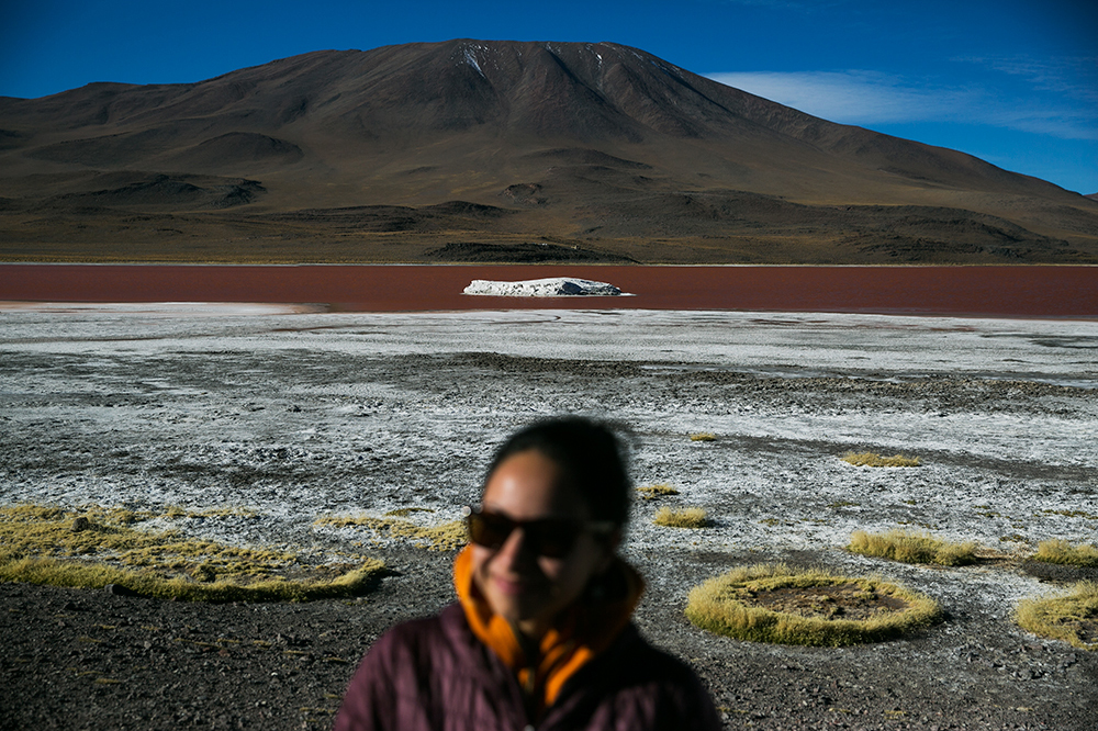 Yes, that's a red lake! Laguna Colorada where we spent our first night along the way to Uyuni, Bolivia.