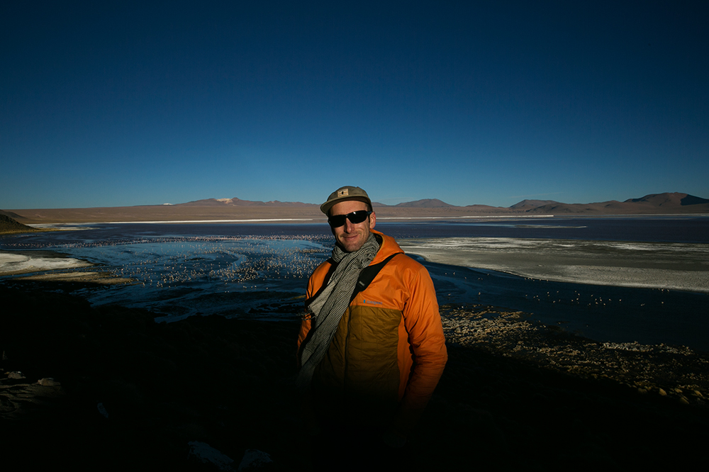 Enjoying sunset at Laguna Colorada, our first stop along the way to Uyuni, Bolivia.