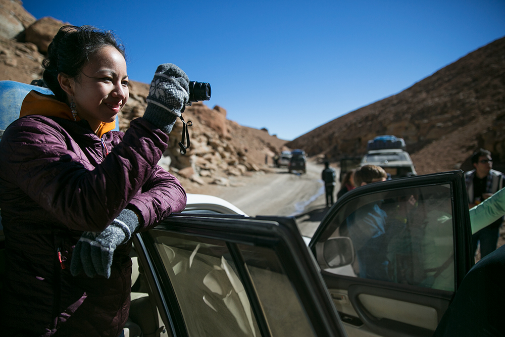Stopping for photos of a Bolivian chichilla rat during a stop on day two of our crossing to Uyuni, Bolivia.