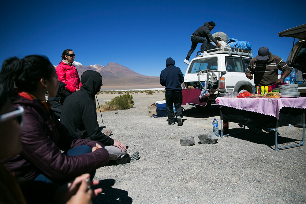 We were so well catered to by our drivers who were preparing our lunch in this photo on day two of our crossing to Uyuni, Bolivia.