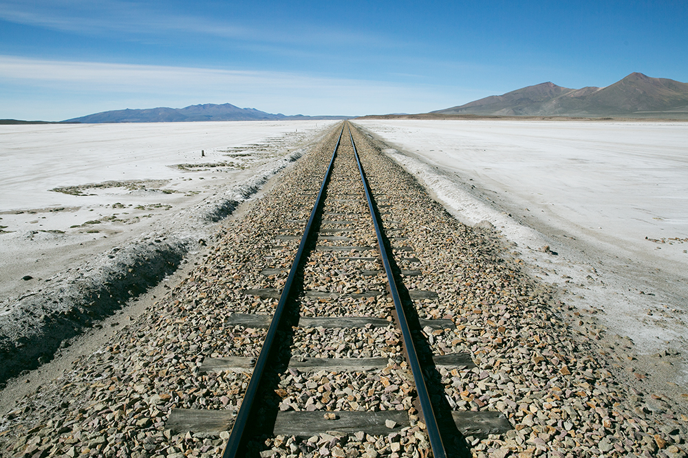 Railroad tracks along the way to Uyuni, Bolivia.