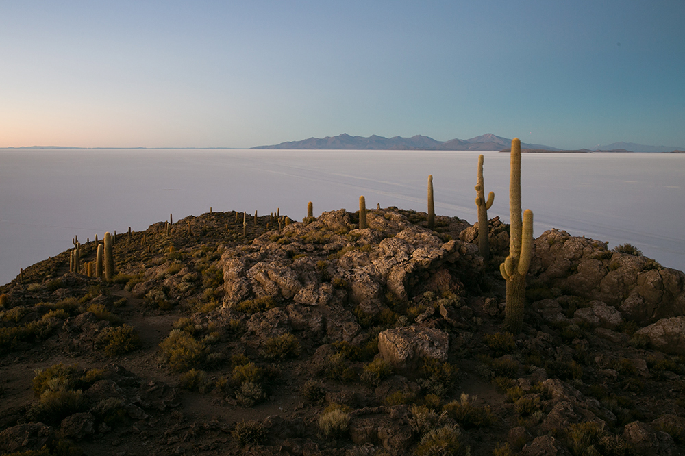 The incredible view of Salar de Uyuni from the top of Isla Incahuasi in Bolivia.