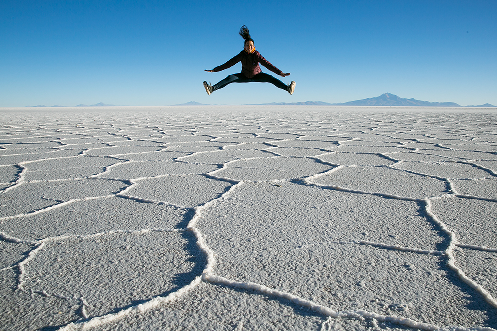 Jumping for joy at Salar de Uyuni, Bolivia.