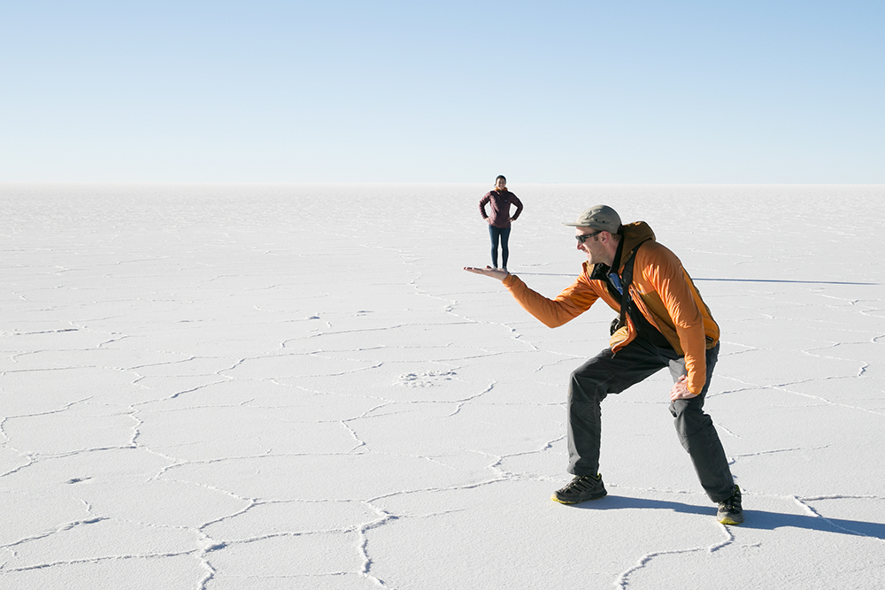 Salar de Uyuni, Bolivia. Thanks to our French friend Florian for the photo.