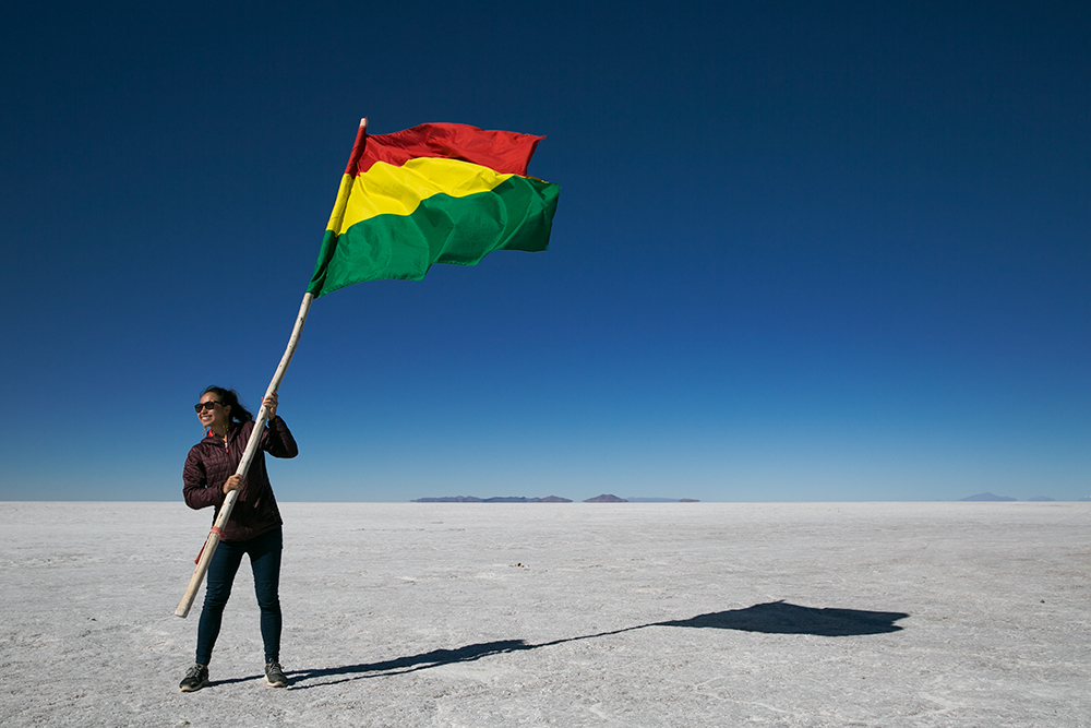 Then we found a Bolivian flag on Salar de Uyuni, Bolivia.