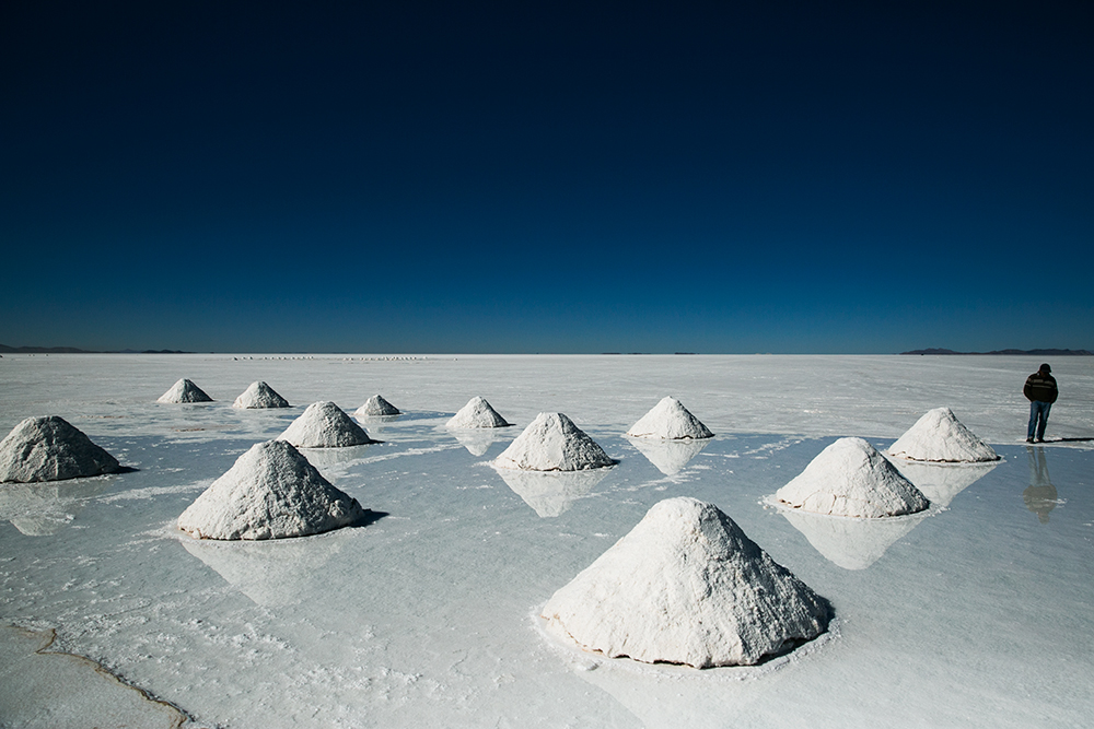 The salt mounds on Salar de Uyuni, Bolivia.