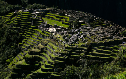 The terraces and ruins of Machu Picchu in Peru.