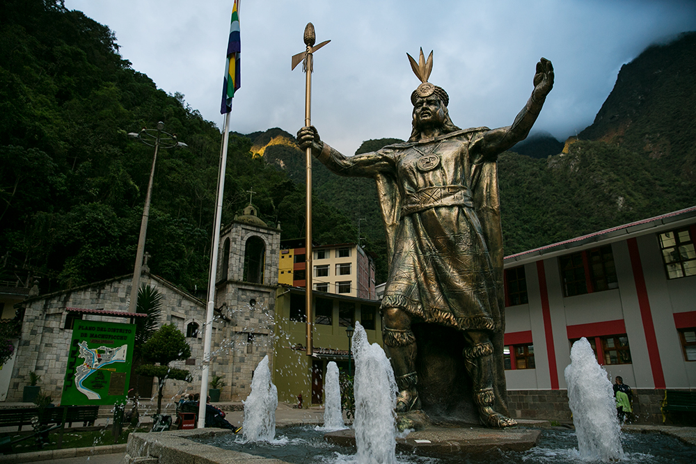 A statue in the center of the village of Aguas Caliente in the Sacred Valley of Peru.
