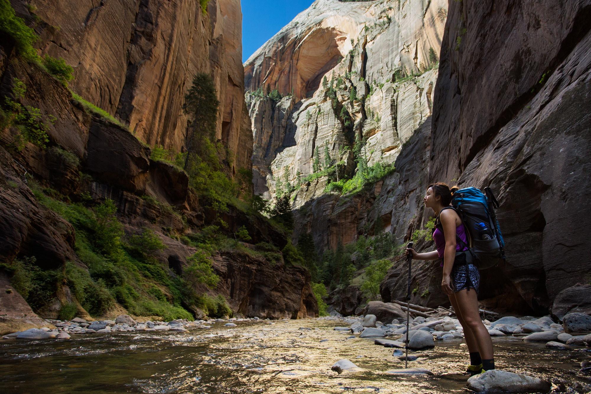 A backpacker pauses to admire a view of the Virgin River Narrows in Zion National Park.