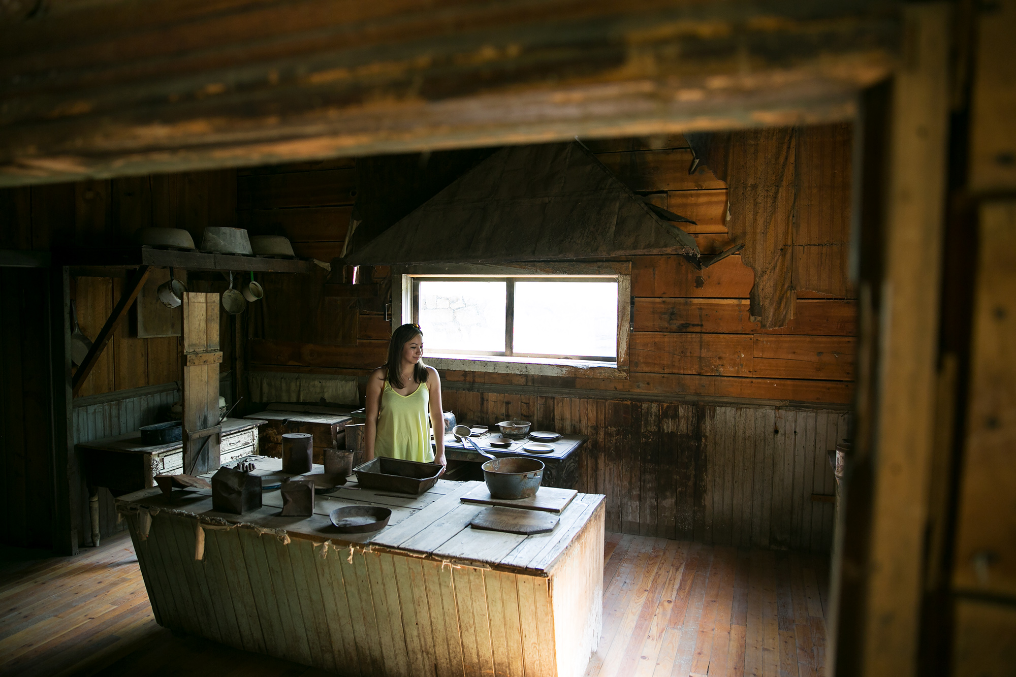 Britnee explores the ghost town of Garnet, Montana, on our way to Missoula.