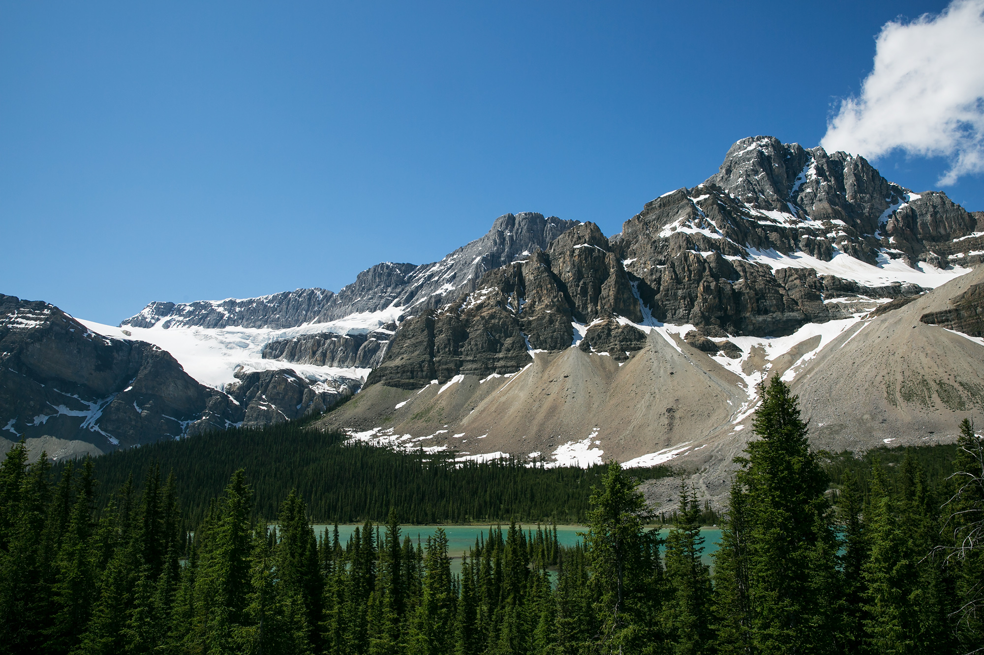 Spectacular views of rugged mountains along the Icefields Parkway in Banff National Park, Alberta.