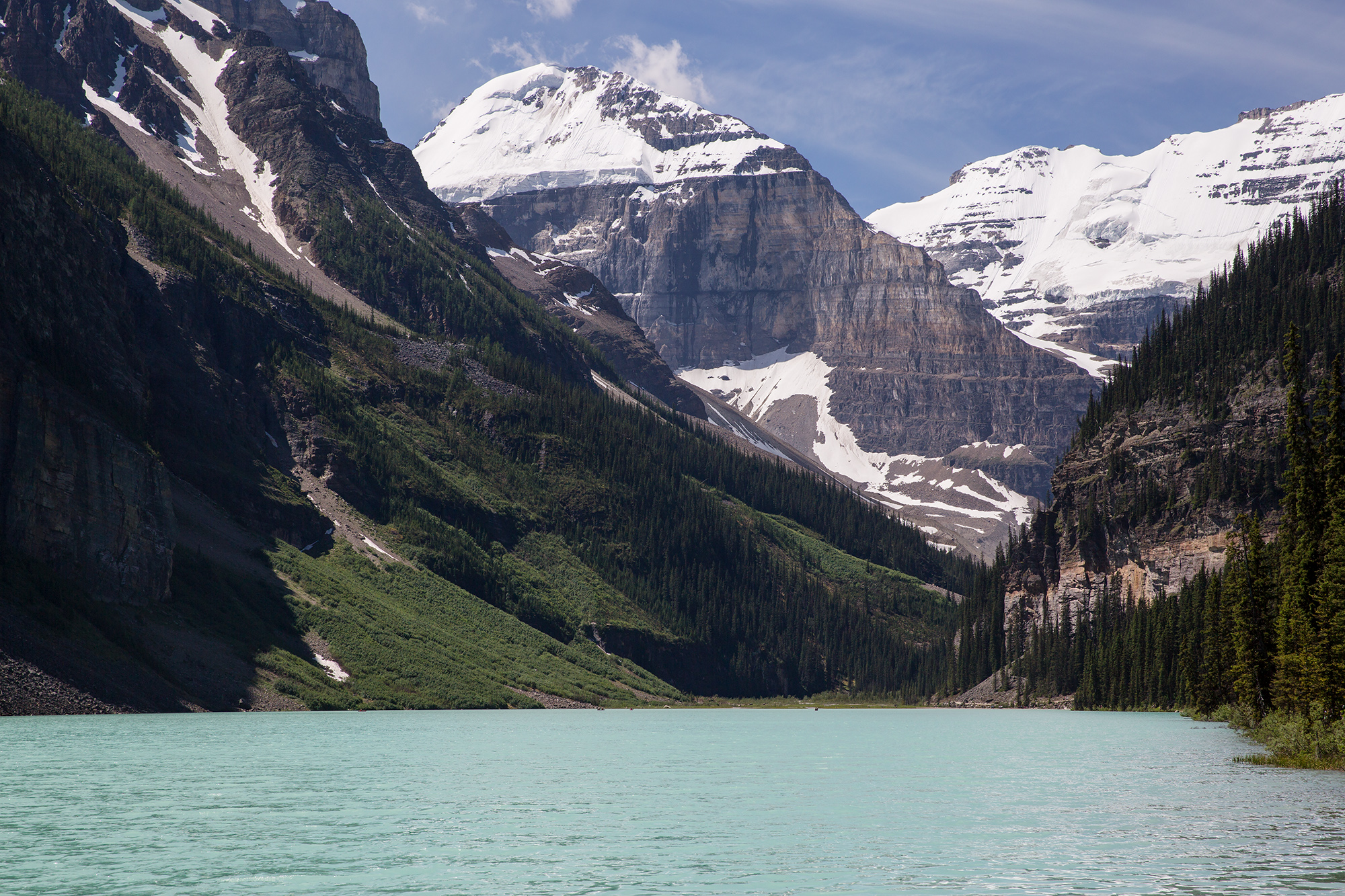 A beautiful view of Lake Louise after a hike to the Plain of the Six Glaciers.