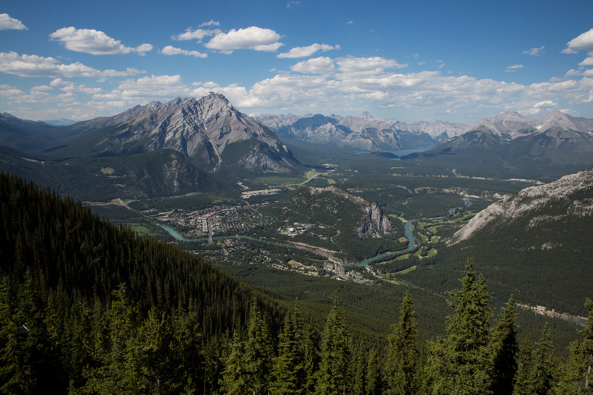 The view of Banff and the surrounding mountains from the top of the Banff Gondola on Sulphur Mountain.