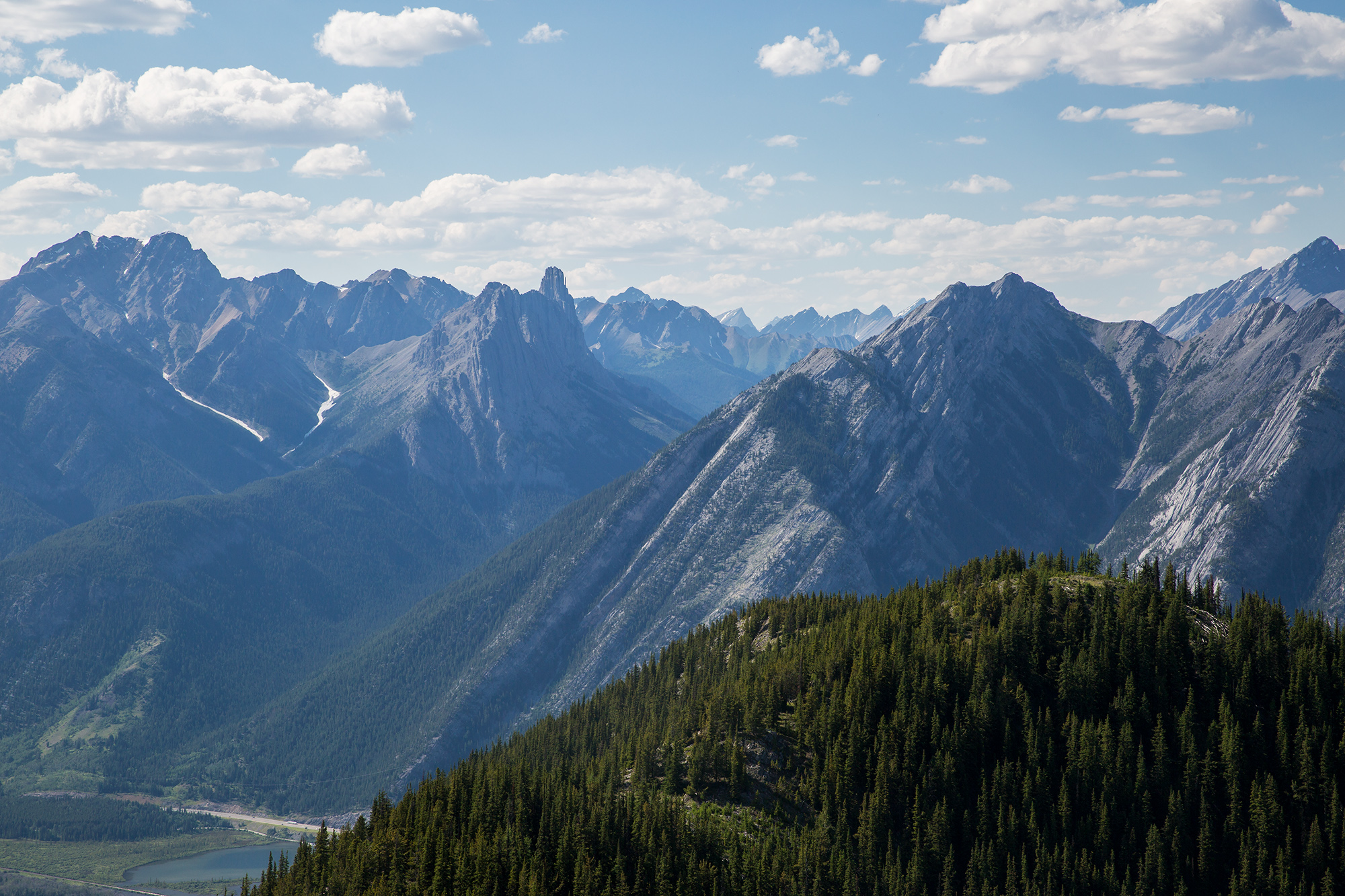 The stunning view of endless mountains seen from the top of the Banff Gondola.