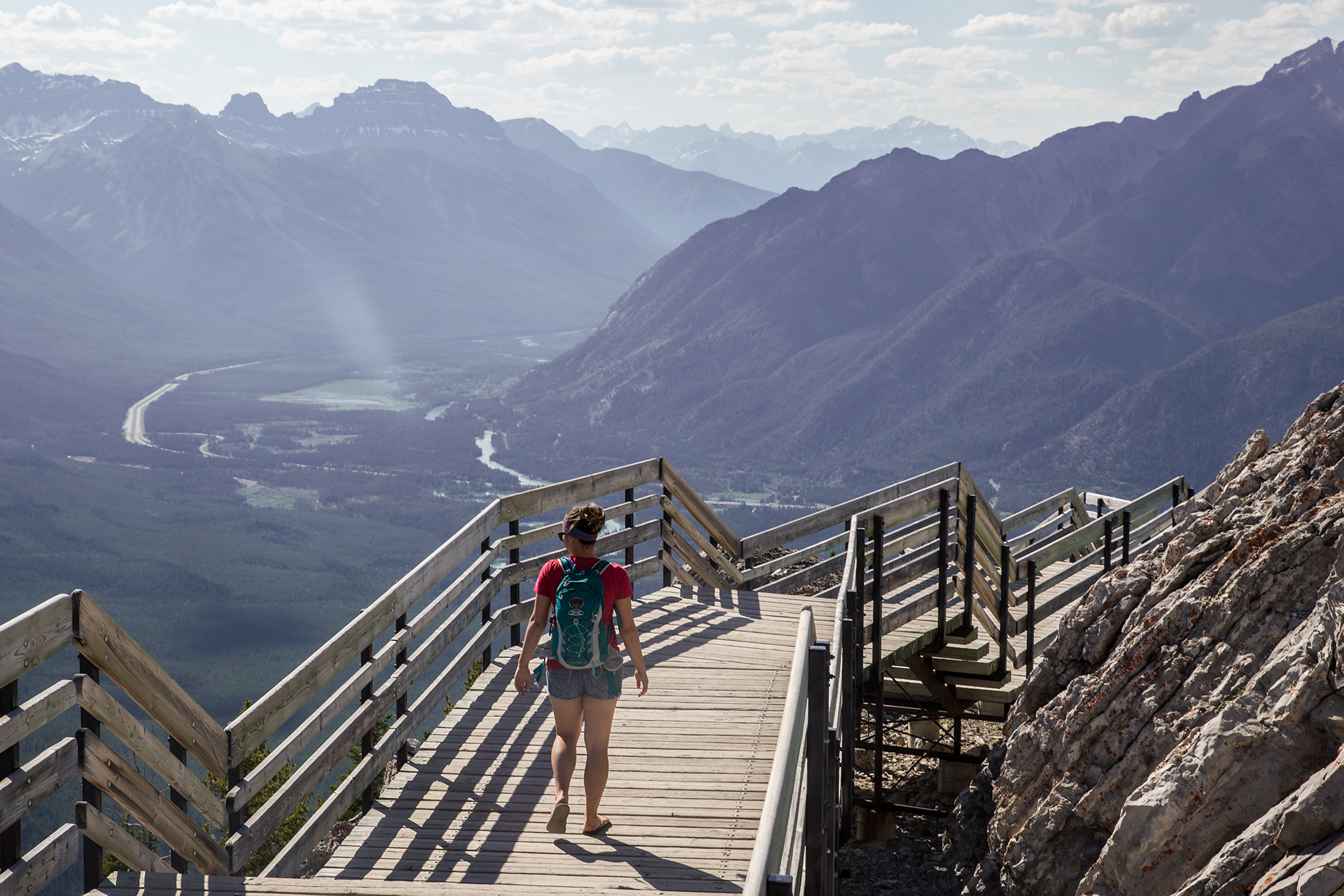 Britnee walks the trail at the top of Sulphur Mountain after taking the Banff Gondola up to enjoy the spectacular views.